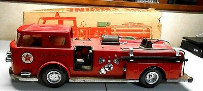 Vintage 1960's Buddy L Texaco Fire Chief Pressed Steel Fire Truck Box lv rm