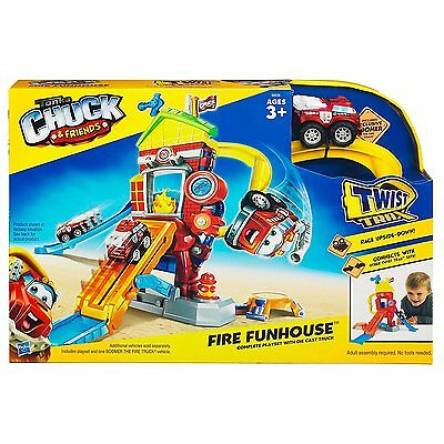 Tonka CHUCK and FRIENDS FIRE FUNHOUSE PLAYSET Diecast Car Toys HASBRO PLAYSKOOL