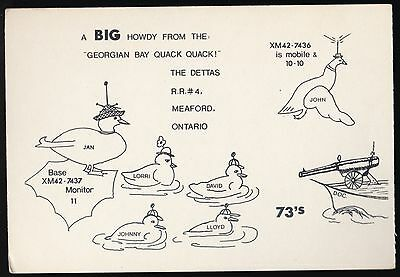 "QSL QSO RADIO CARD "" Georgian Bay Quack Quack"", Meaford, ON Canada (Q466)"