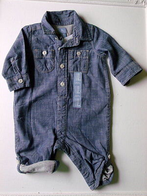 Baby Gap Boys Romper Blue Chambray Cotton Size 3-6 months New