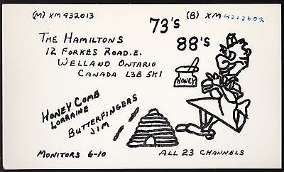 "QSL QSO RADIO CARD "" Honey Comb/Butterfingers"" Welland, ON Canada (Q168)"