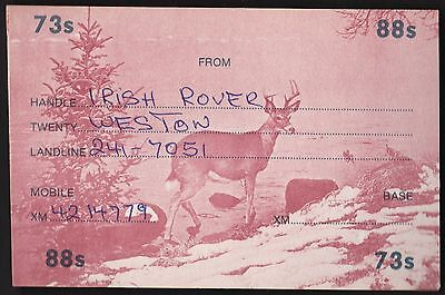 "QSL QSO RADIO CARD "" Irish Rover"", Twenty Weston (Picture of Deer) (Q91)"