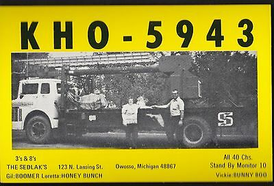 "QSL QSO RADIO CARD "" KHO-5943"" Owosso, Michigan, U.S.A. (Q302)"