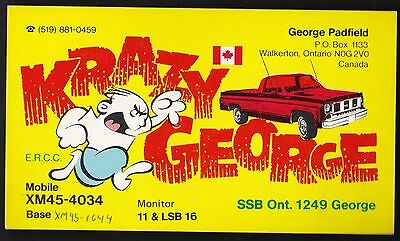 "QSL QSO RADIO CARD "" Krazy George"", Walkerton ON Canada (Q86)"