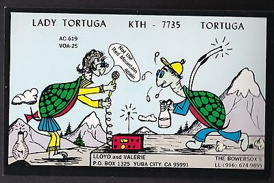 "QSL QSO RADIO CARD "" Lady Tortuga"", Yuba City, CA,  U.S.A. (Q287)"