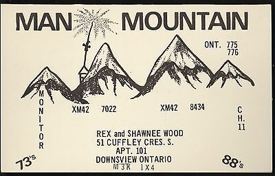 "QSL QSO RADIO CARD "" Man Mountain"", Downsview, ON Canada (Q355)"