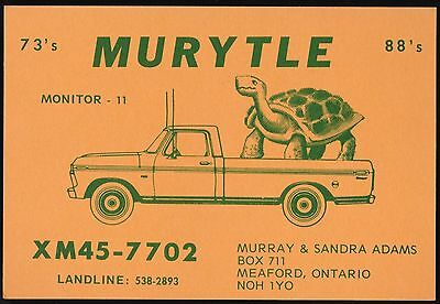 "QSL QSO RADIO CARD "" Murytle"", Meaford, ON Canada (Q456)"