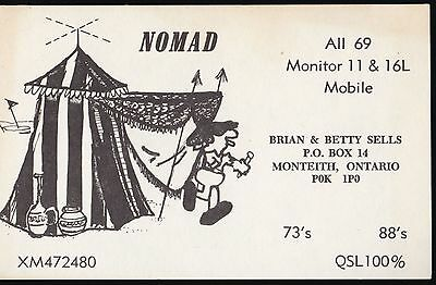 "QSL QSO RADIO CARD "" Nomad"", Monteith, ON Canada (Q452)"
