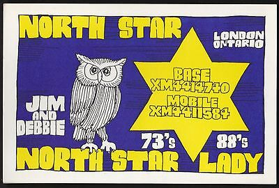 "QSL QSO RADIO CARD "" North Star/North Star Lady"", London, ON Canada (Q406)"