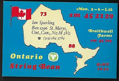 "QSL QSO RADIO CARD "" Ontario String Bean"", St. Marys, ON Canada (Q97)"
