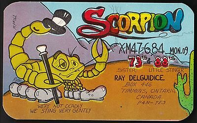 "QSL QSO RADIO CARD "" Scorpion"", Timmins, ON Canada (Q396)"