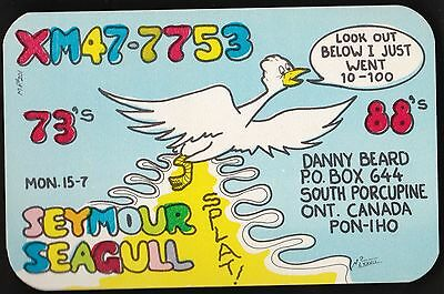"QSL QSO RADIO CARD "" Seymour Seagull"", South Porcupine, ON Canada (Q223)"