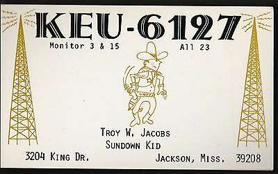 "QSL QSO RADIO CARD "" Sundown Kid"", Jackson, Miss. U.S.A. (Q310)"