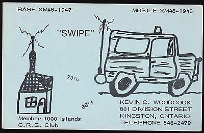 "QSL QSO RADIO CARD "" Swipe"", Kingston, ON Canada (Q442)"