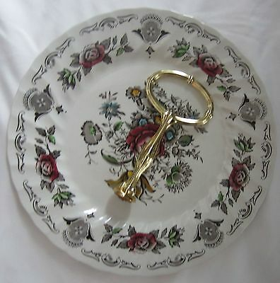 "Myott Staffordshire England 1 Tier Round 10"" Serving Plate With Handle Original"