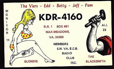 "QSL QSO RADIO CARD ""Blondie/The Blacksmith/The Viers-Edd"", Max Meadows,VA(Q1365)"