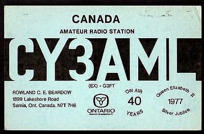 "QSL QSO Radio Card ""Canada,Rowland C.E. Beardow,CY3AML,On Air 40 Years"", (Q3397)"
