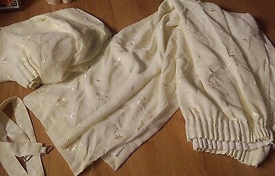 Quality Cream Lined Voile pencil pleat curtains 66×72 Tie Backs