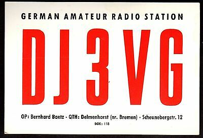 "QSL QSO Radio Card ""DJ3VG,German Amateur Radio Station,Bernhard Baetz"", (Q3417)"