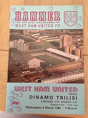 West Ham Utd v Dinamo Tbilisi European Cup Winners Cup Programme 4th March 1981
