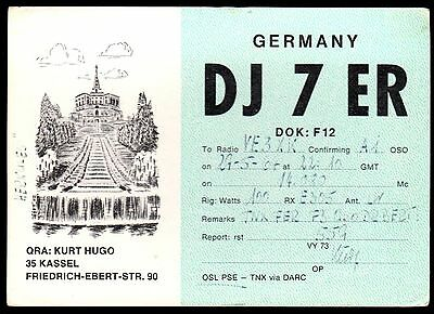"QSL QSO Radio Card ""DJ7ER,Kurt Hugo,Friedrich-Ebert-Straße"", Germany (Q3460)"