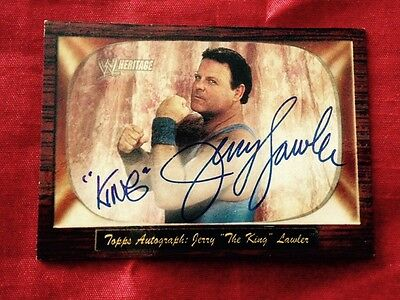 wwe wwf jerry lawler the king signed autographed topps offical card very rare