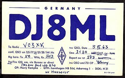 "QSL QSO Radio Card ""DJ8ML,Harry Kempka"", Isernhagen, Germany (Q3420)"