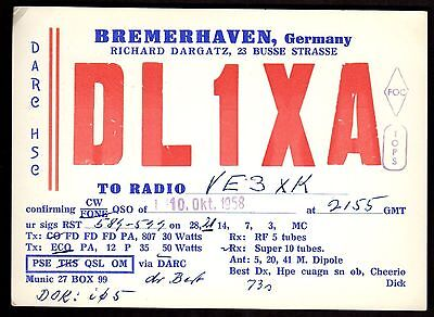 "QSL QSO Radio Card ""DL1XA,Richard Dargatz"", Bremerhaven, Germany (Q3431)"