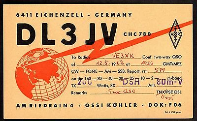 "QSL QSO Radio Card ""DL3JV,Eichenzell,Globe,Lightning Bolt/Signal"",Germany(Q3458)"