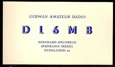 "QSL QSO Radio Card ""DL6MB,German Amateur Radio,1958,Bernhard Krumbeck"", (Q3432)"