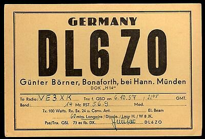"QSL QSO Radio Card ""DL6Z0,Gunter Borner,1957"",Bonaforth,  Germany (Q3453)"