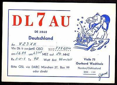 "QSL QSO Radio Card ""DL7AU,Gerhard Wachholz,Cartoon Man,Transmitter"", (Q3430)"