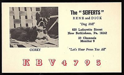 "QSL QSO RADIO CARD ""Dog Hill/The Seiferts/Corky/Dog "", New Bethlehem, PA (Q1372)"