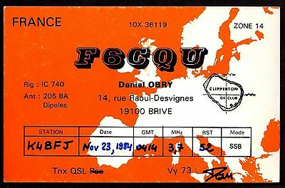 "QSL QSO Radio Card ""F6CQU,Daniel Obry,Map of France,Clipperton DX Club"", (Q3423)"