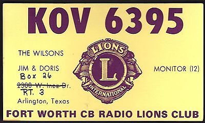 "QSL QSO RADIO CARD ""Fort Worth CB Radio Lions Club/Jim/Doris"", TX (Q1740)"