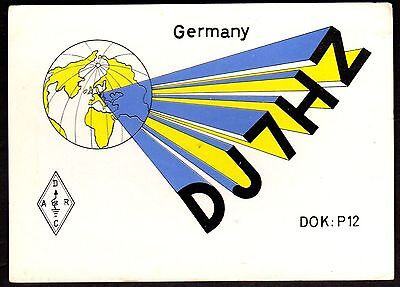 "QSL QSO Radio Card ""Pic of Globe,DJ7HZ,Walter Gerstmaier"", Germany (Q3411)"