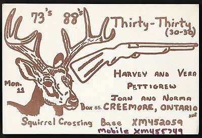 "QSL QSO RADIO CARD ""Thirty-Thirty"", Creemore, ON Canada (Q354)"