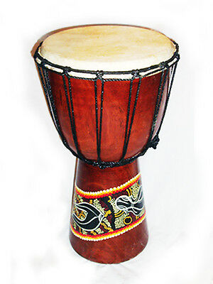 20/ 30 cm Handcarved DJEMBE BONGO DRUM one piece wood painted Abaoriginal style
