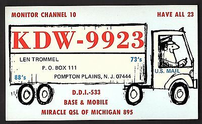 "QSL QSO RADIO CARD ""U.S. Mail/KDW-9923"", Pompton Plains, NJ (Q868)"