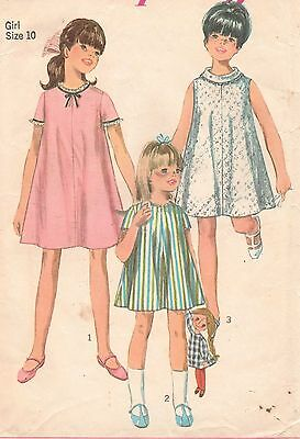Vintage 1967 Simplicity 7038 Girls ONE PIECE TENT DRESS Sew Pattern S10