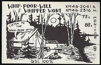 "QSL QSO RADIO CARD ""Whip-Poor-Will & Whipper Wont"",Val Caron,ON Canada(Q487)"