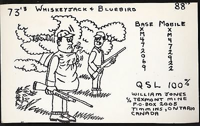 "QSL QSO RADIO CARD ""Whiskeyjack & Bluebird"", Timmins, ON Canada (Q127)"