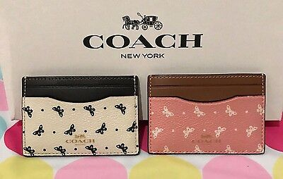 New Coach  Butterfly Dot Print Pvc Flat  Card Case Holder  F59787 $65