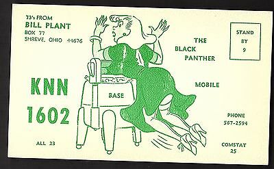 "Risque QSL QSO RADIO CARD ""The Black Panther/KNN 1602"", Shreve, Ohio (Q969)"
