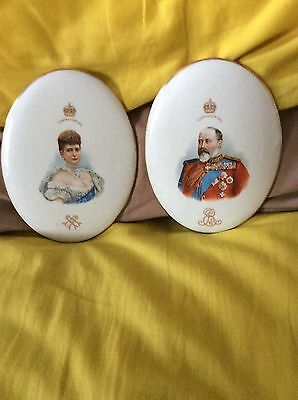 Pair of Royal Doulton King Edward VII  & Queen Alexandra 1902 Coronation Plaques