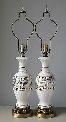 Pair of Vintage Porcelain & Brass Table Lamps White & Gold w Green Laurel Leaf