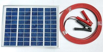 5w Solar Panel 12v Battery Charger top up c/w 4m cable & Block Diode & Clips CE
