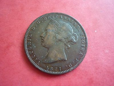 Jersey - Good Collectable Grade Copper 1871 1/13Th Of A Shilling Coin