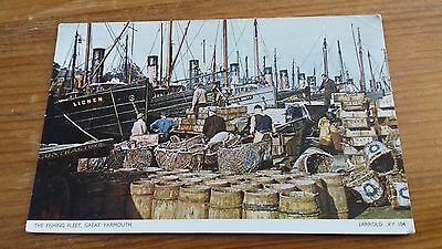 Vintage Postcard - The Fishing Fleet, Great Yarmouth.