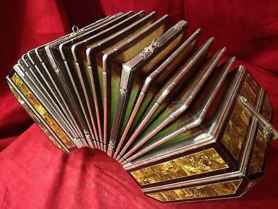 Vintage Pre-War Pearl Queen Concertina Iridescent Gold Abalone MH 22/16